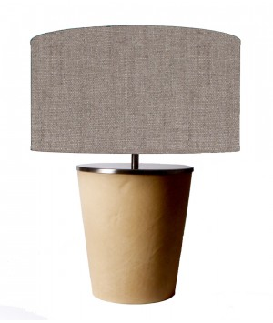 Table lamp base cover with leder