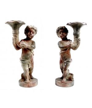 PAIR OF ANGELS WITH CANDLE HOLDER